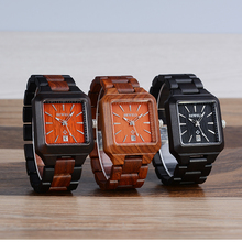 Men Wood Watches with Sandalwood Strap Calendar Clock for Male Luxury Brand Sport Wristwatch with Gift Box for Your Family 110A цена и фото