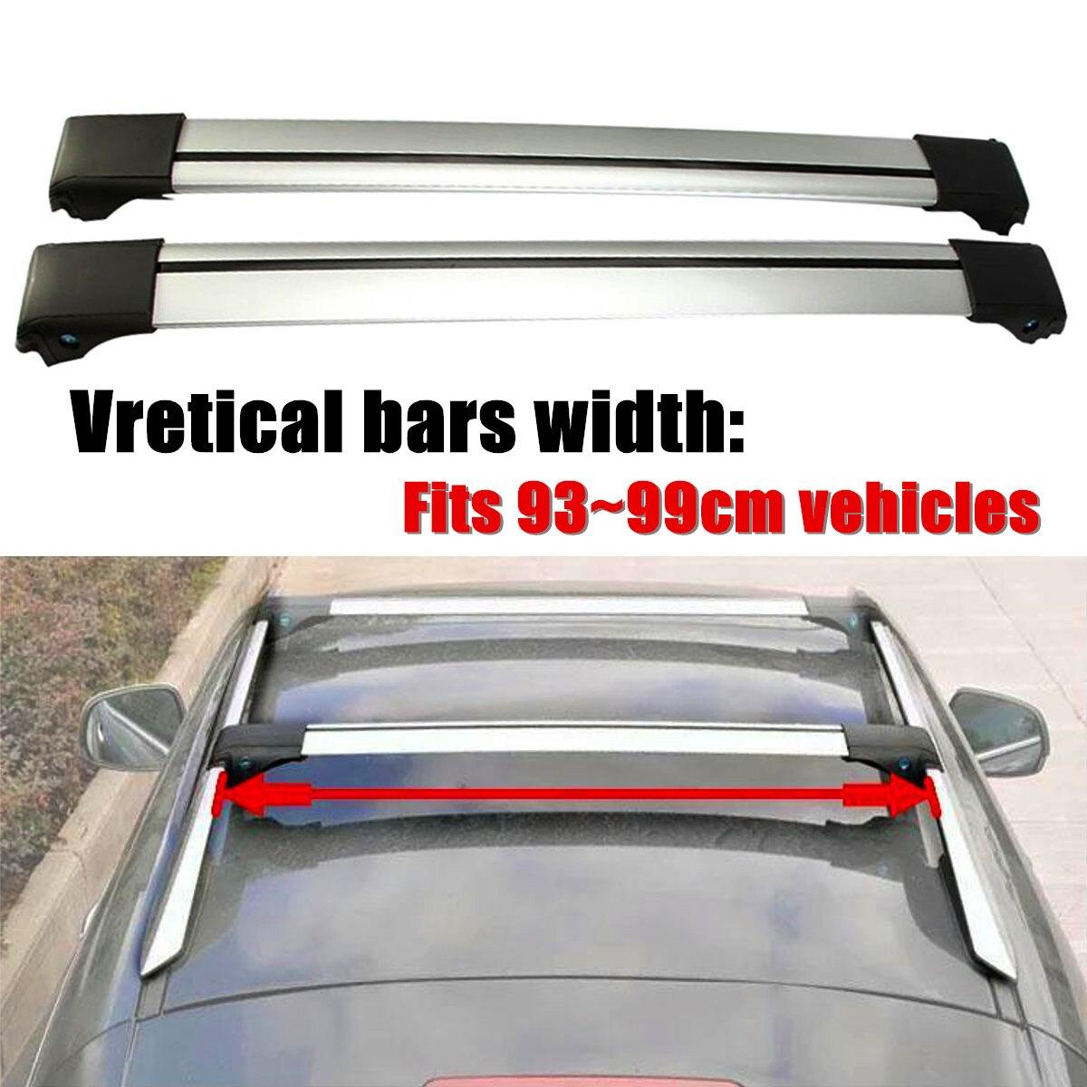 2X93 cm-99 cm 97cm universel voiture toit porte-bagages panier Rail supérieur barre transversale porte-bagages pour Rail surélevé