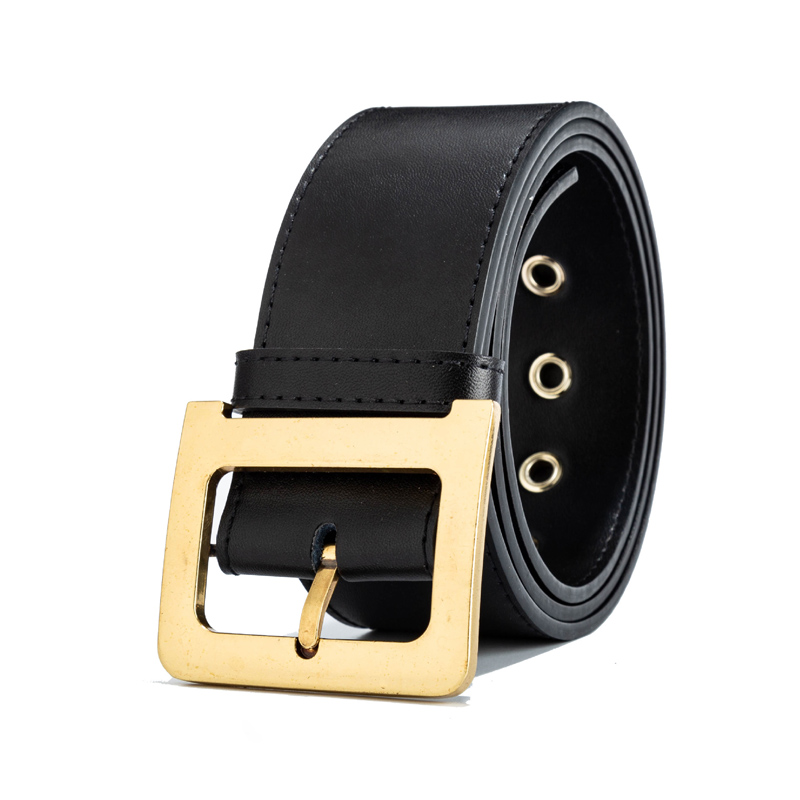 Image 2 - 100% Genuine Leather Belts Luxury Designer Metal D Buckle belt women girls retro vintage large belt for jeans black With Box-in Women's Belts from Apparel Accessories