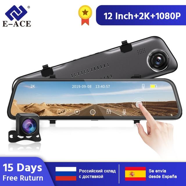 E ACE araba dvrı FHD akışı medya dikiz aynası 2K + 1080P Video kaydedici çift Lens Dash kamera ile dikiz kamera Registrator