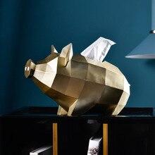Нордическая Золотая форма свиньи необычная коробка для салфеток подарок украшение дома аксессуары для гостиной орнамент держатель тканевой бумаги смола
