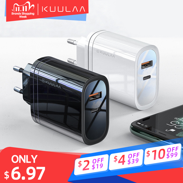 KUULAA PD Charger Quick Charge 4.0 3.0 36W USB Charger PD 3.0 Fast Charging Phone Charger For Xiaomi Mi 9 8 iPhone X XR XS Max