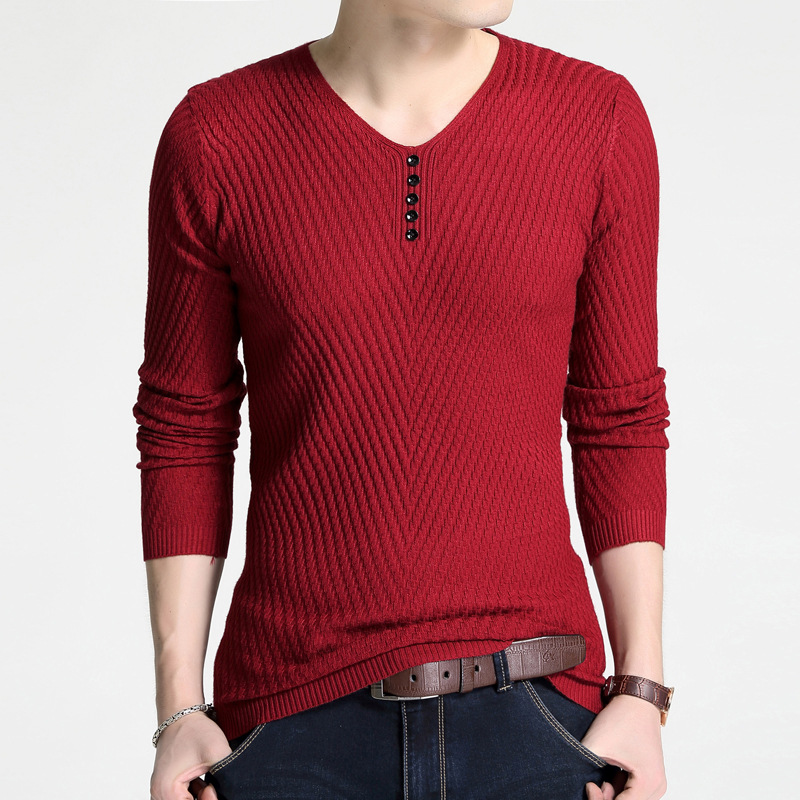 GustOmerD 2019 New Men's Sweater V-neck Thin Pullover Sweater Fashion Wild Solid Color Casual Long-sleeved Sweater Men