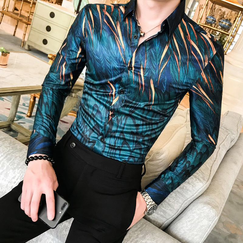 High Quality Men Floral Shirt Autumn New Long Sleeve Tuxedo Shirt Streetwear Mens Casual Shirts Slim Fit Party Wear Blouse Homme
