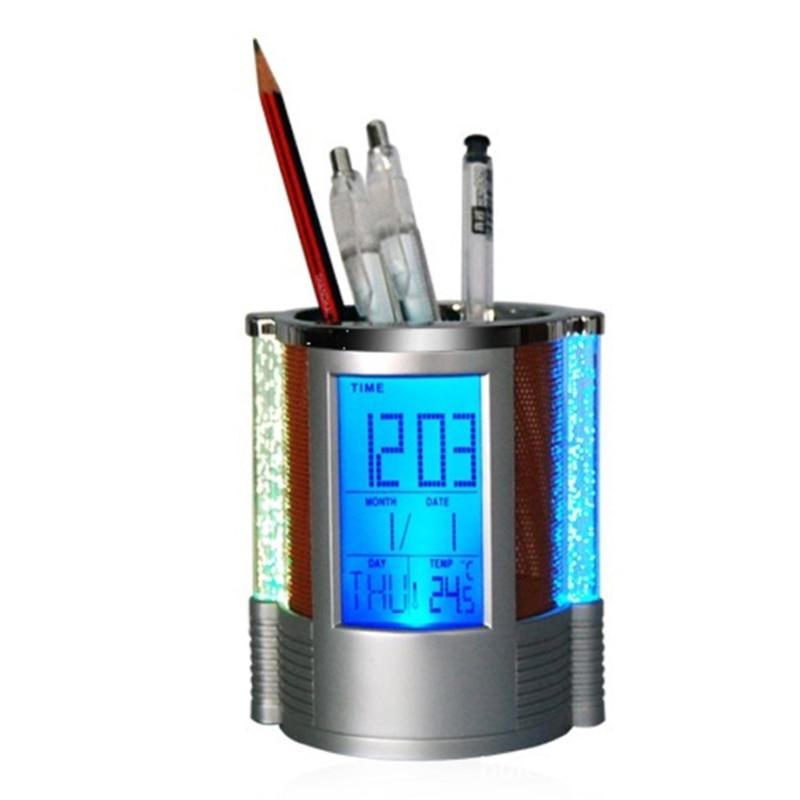 Digital Mesh Pen Pencil Holder With LED Light LCD Desk Alarm Clock Pen Holder Pens Rulers Office Desk Organizer