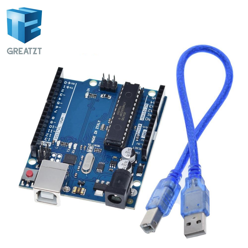 GREATZT 1 Set UNO R3 Official Box ATMEGA16U2+MEGA328P Chip For Arduino UNO R3 Development Board + USB CABLE
