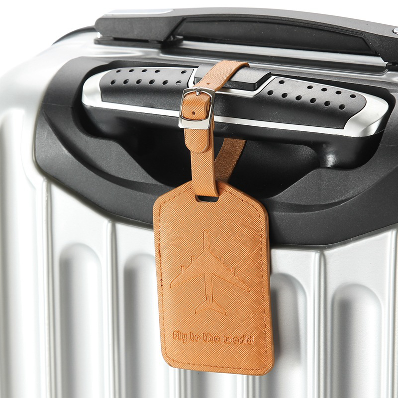 Fashion Airplan Luggage Tags Suitcase Portable PU Leather Holder Travel Accessories ID Addres Label Business Baggage Boarding