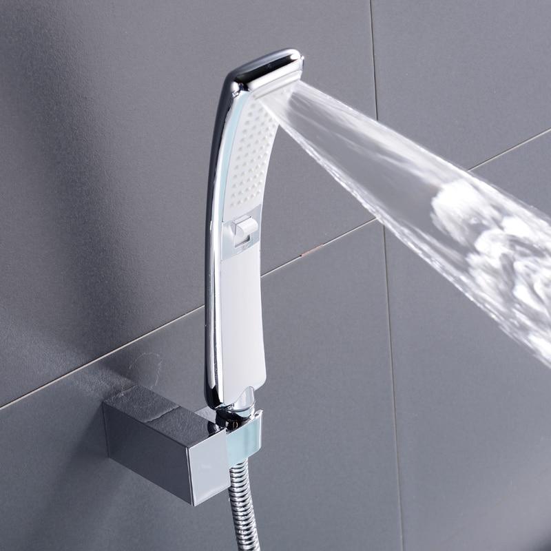 Waterfall 2 Function Hand Held Shower Head High Pressure Rain Shower Sprayer Water Saving New Design Chrome Shower Set Bathroom