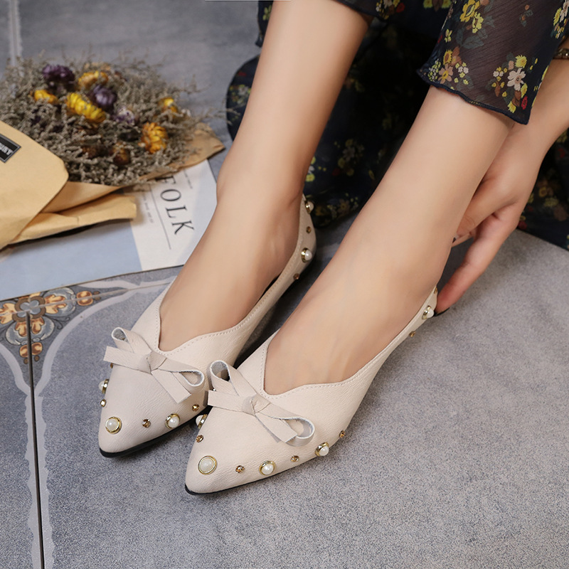 Autumn Flat Heel Pointed Shallow Mouth Shoes Women's Pearl Man-made Diamond Bow Flat Top Shoes Women's Korean-style Large Size W