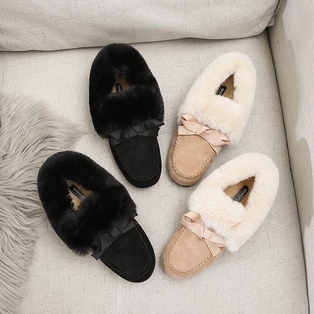2019 Winter Faux Fur Shoes Woman Loafers Warm Fluffy Plush Flock Bowtie Boat Ballet Flats Soft Roll Egg Peas Oxfords Moccasins