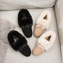 2019 kış taklit kürk ayakkabı kadın loaferlar sıcak kabarık peluş akın papyon tekne bale Flats yumuşak rulo yumurta bezelye Oxfords moccasins