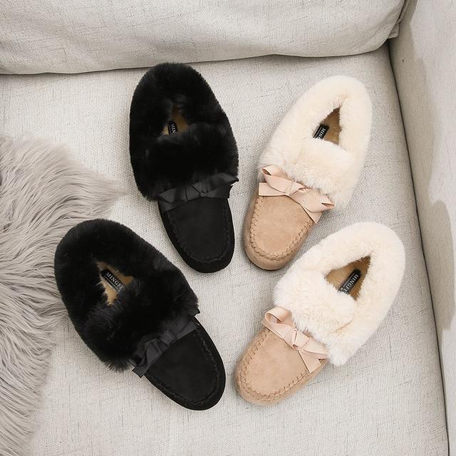 Mocassins en fausse fourrure, chaussures dhiver pour femmes, mocassins chauds, moelleux, bateau, bateau, Ballet, doux, pois œuf en rouleau, Oxfords, collection 2019