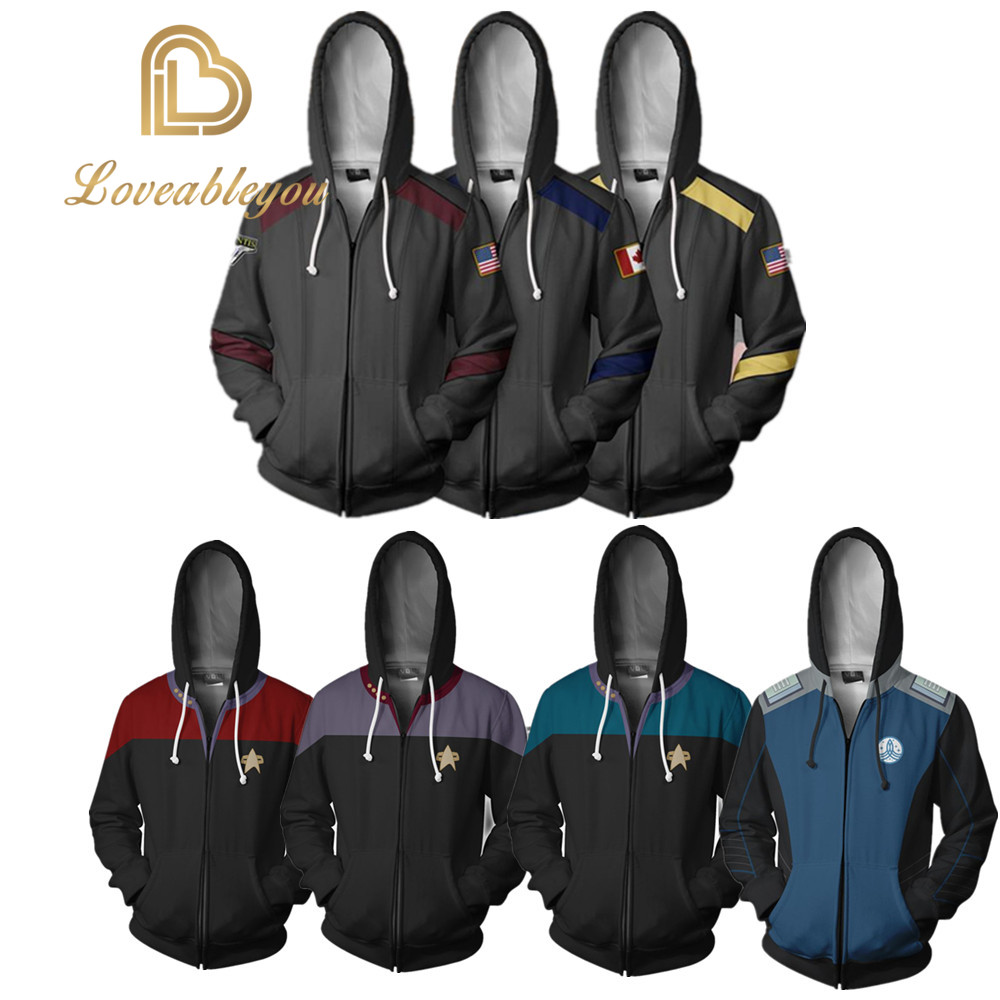 Star Discovery Cosplay Zipper Hoodies Universe Trek Coat Jacket Unisex Sweatshirt