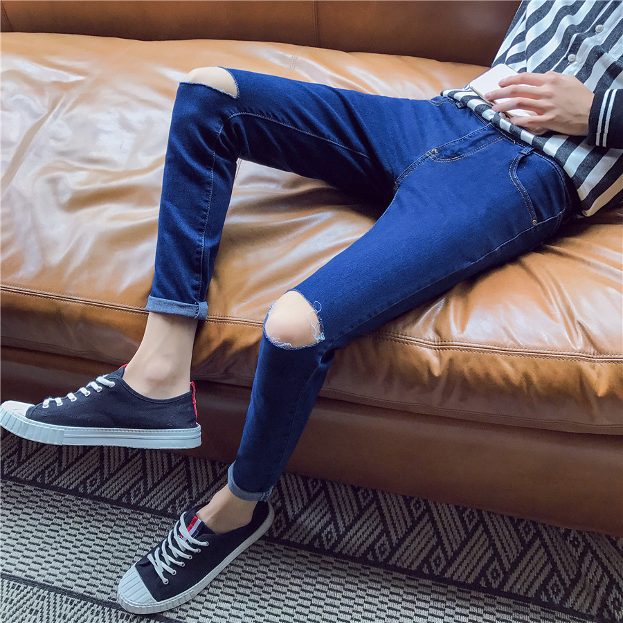 Summer Fashion Man Knee With Holes Jeans Male STUDENT'S Korean-style Slim Fit Pants Capri Cowboy Pants Fashion Man