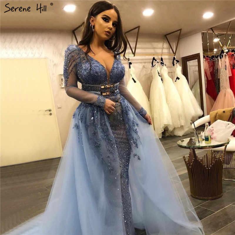 Blue Dubai Luxury Sequined Sparkle Evening Dresses 2020 Long Sleeve Beading Evening Gowns Serene Hill Plus Size LA60858