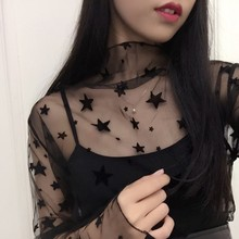 Lady Sexy Mesh T-shirt Women Long Sleeve Stand Collar T