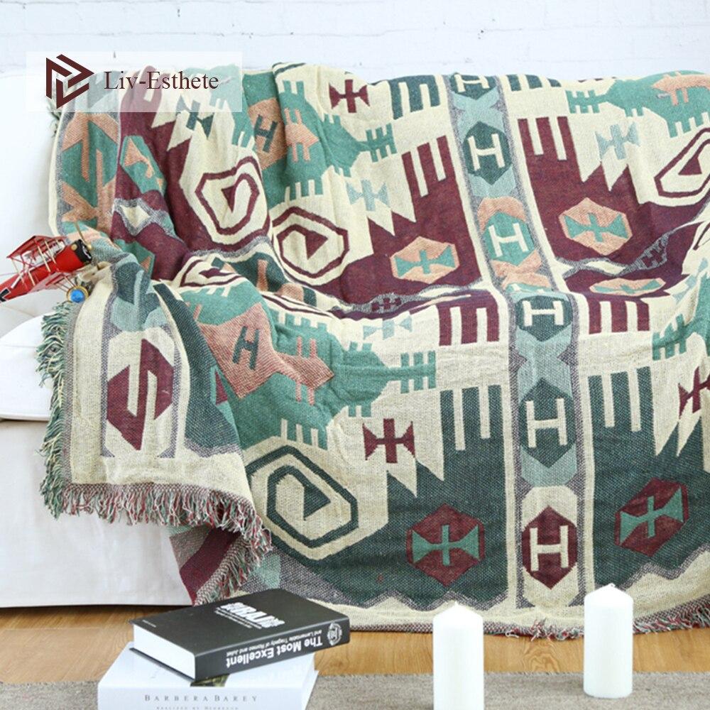 Liv-esthete 100% coton bohême couverture jeter gland couverture adulte canapé-lit sac de couchage Wrap couverture tricotée pour le meilleur cadeau