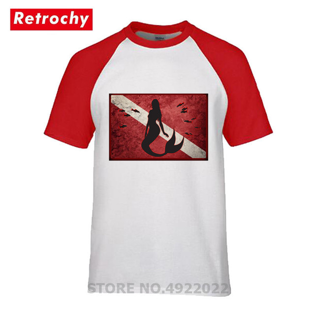Stylish Mermaid T Shirt Red Flag New Pattern Scuba Diving T-shirt Men Funny Scuba Diver Tshirt Dive Lovers Perfect Gift Camiseta