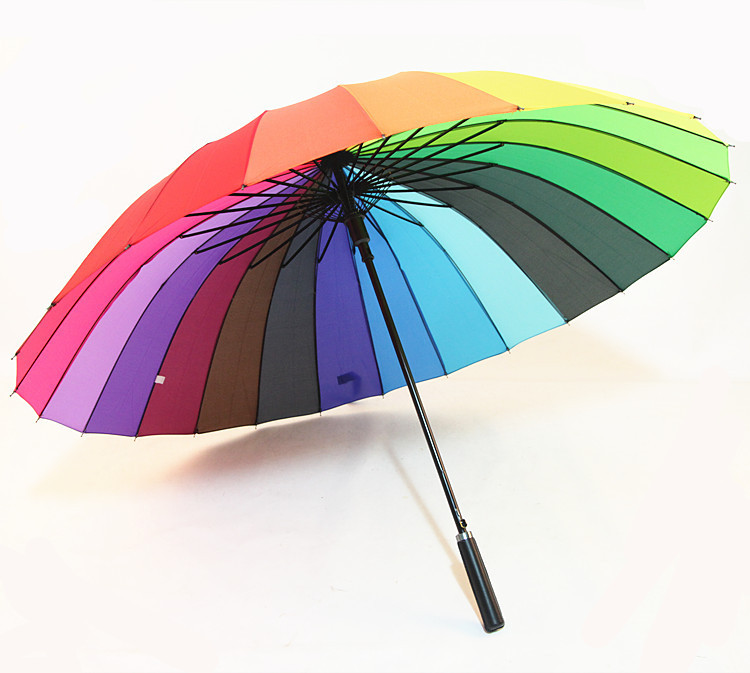 Currently Available Wholesale 24k Automatic Straight Handle Rainbow Umbrella Oversized College Style Sun-resistant All-Weather U