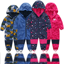 Soft shell childrens jumpsuit boys and girls conjoined romper jumpsuit habercoat warm waterproof windproof composite fabric