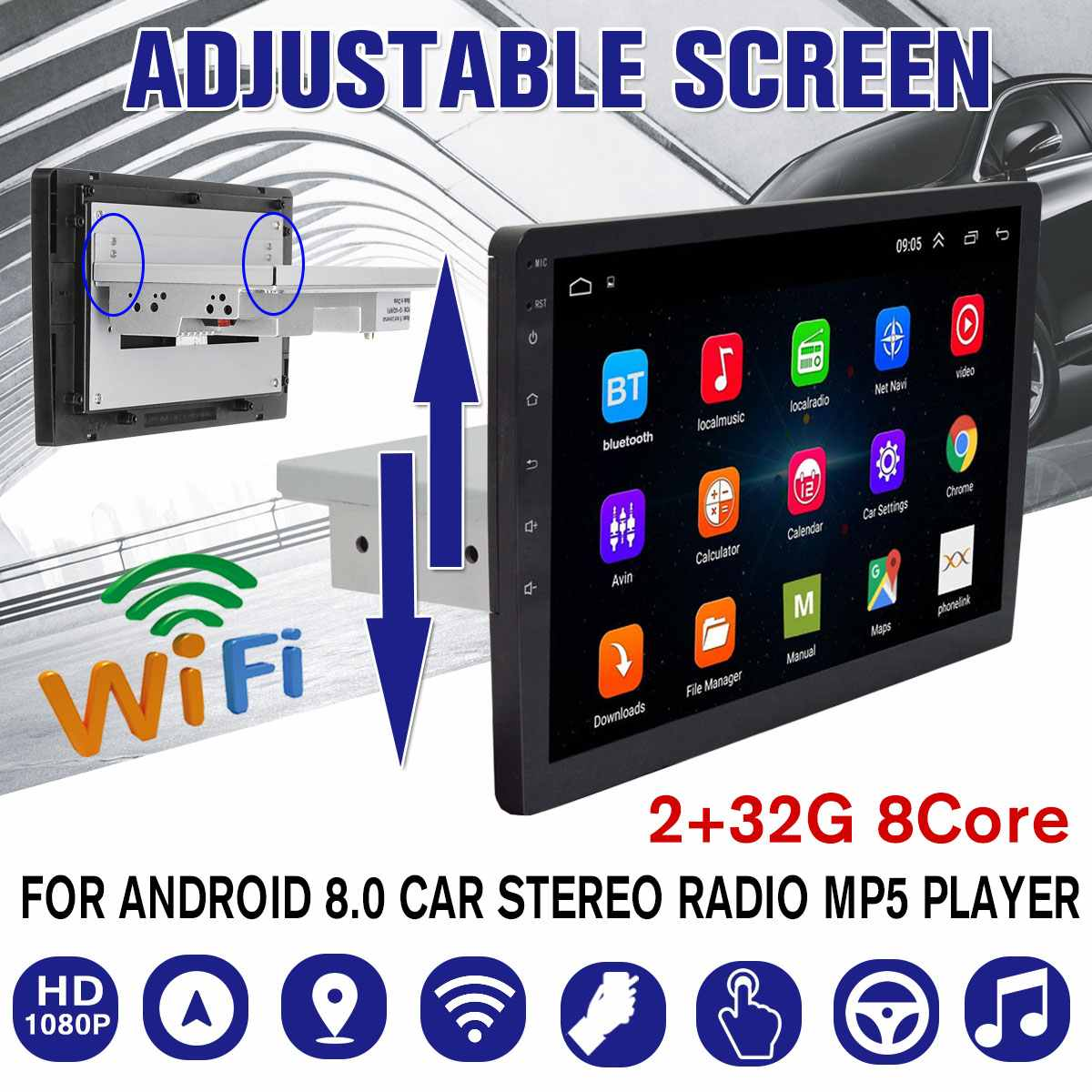 9/10.1 2+32G Android 8.0 Car Multimedia Player 1Din Radio with Up Down Adjustable Screen Wifi bluetooth GPS Nav MP5 Player image