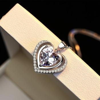 Handmade Rhinestone Pendant Cubic Zirconia Sterling Silver Heart Crystal Necklace  2