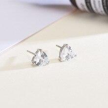 Stud Earring 925 Sterling Silver Fine Earrings For Women Fashion Girls Jewelry Trend Gift 2020 New Design Heart Zircon