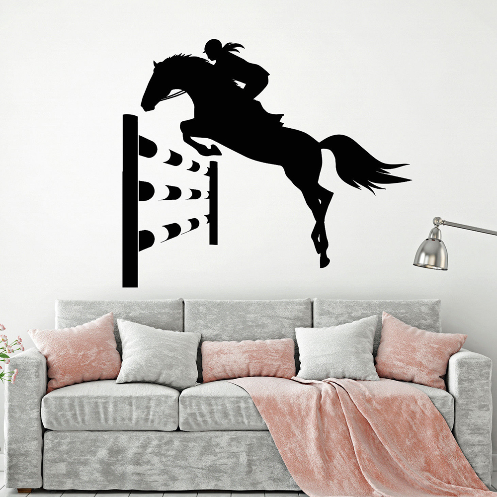 Horseback Riding Sport Wall Decals Horse Rider Girl Tournament Animal Vinyl Wall Stickers Home Decoration Office Gymnasium Z069