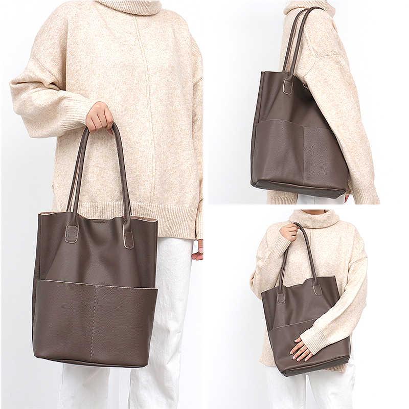 Sc marca feminina couro genuíno sacos de ombro causal do vintage alta qualidade macio bolsa balde compras grande hobos tote