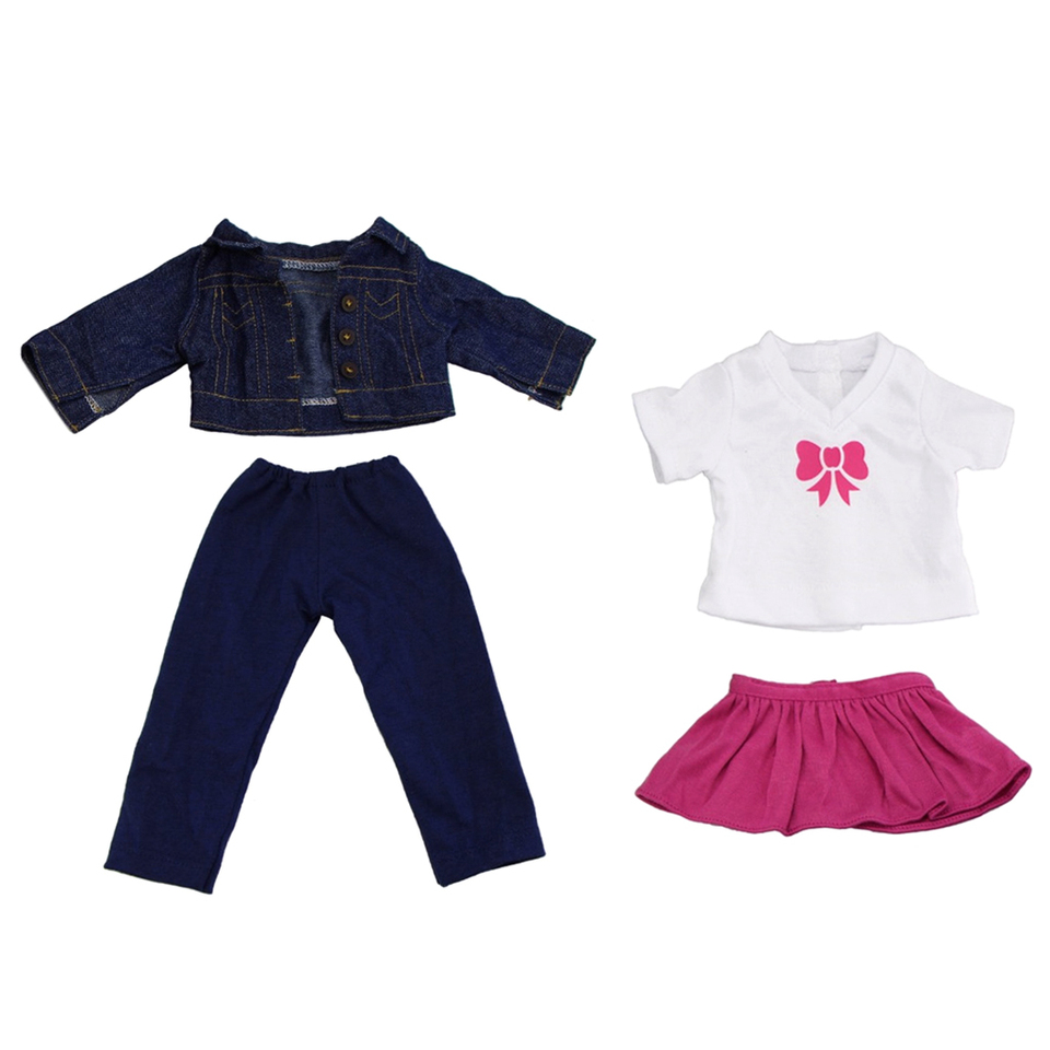 4pcs Clothes for 18 inch American Doll Our Generation My Life Doll Shirt Tops Jeans Outfits Jacket Trousers Pants Dress Skirt Suit Accs