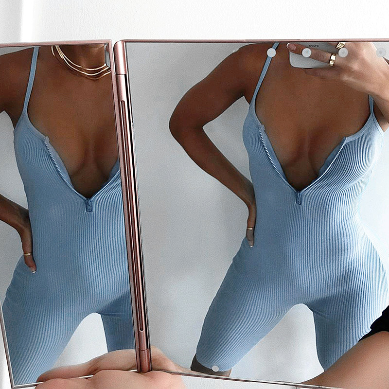 The hot new summer jumpsuit for women with zipper sexy halter strap jumpsuit tight solid color sports jumpsuit