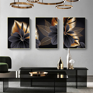 Image 2 - Black Golden Plant Leaf Canvas Poster Print Modern Home Decor Abstract Wall Art Painting Nordic Living Room Decoration Picture