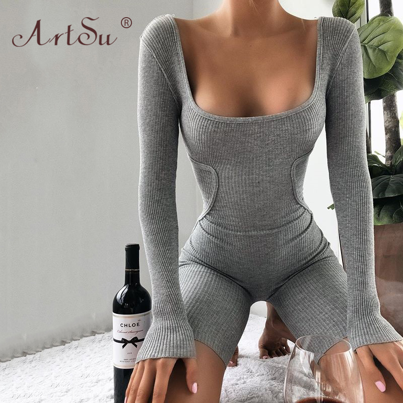 ArtSu Ribbed Knitted Skinny Playsuit Women Long Sleeve Sexy Square Neck Black Bodycon Jumpsuit 2020 Summer Streetwear Playsuits