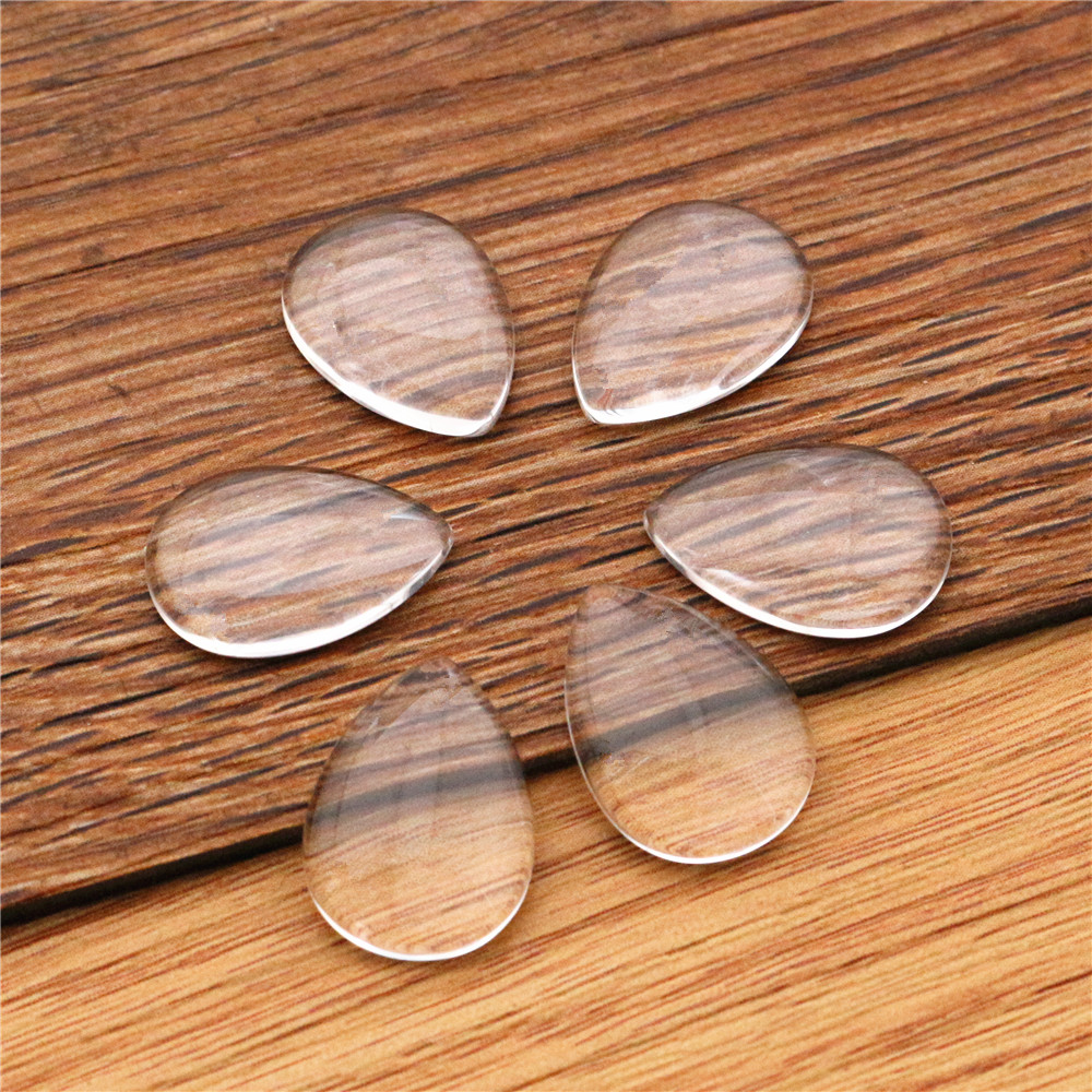 20pcs/lot 13x18mm Drop Flat Back Clear Glass Cabochon, High Quality, Lose Money Promotion!!!(Z3-02)
