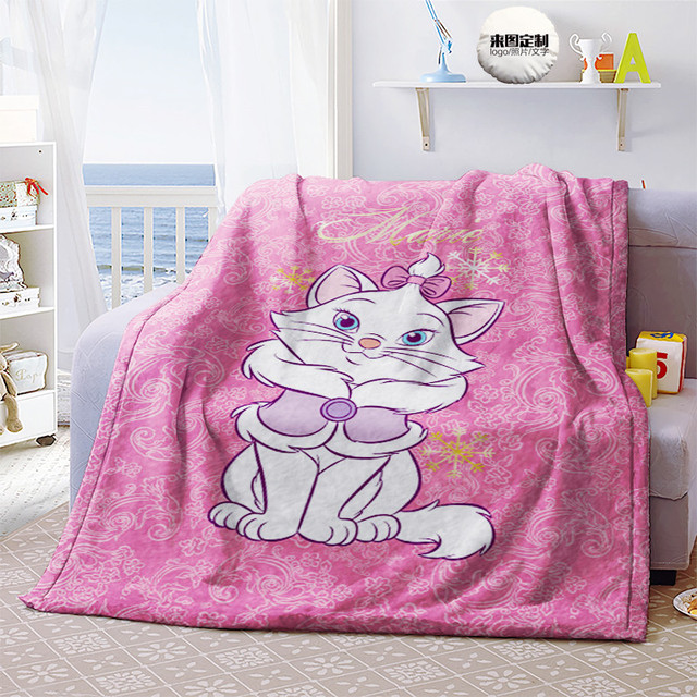 Disney Marie Cat Anime Figures Cartoon Product Cosplay Accessories Customized Blanket Warm Home Bed Unisex Gifts 5