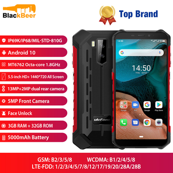 Купить Водонепроницаемый смартфон Ulefone Armor X5, экран 5,5 дюйма, MT6762, восемь ядер, IP68, Android 10,0, 3 ГБ, 32 ГБ, nfc, 4G LTE мобильный телефон