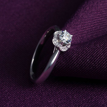1 Karats 18k Gold And White Engagement Ring 3