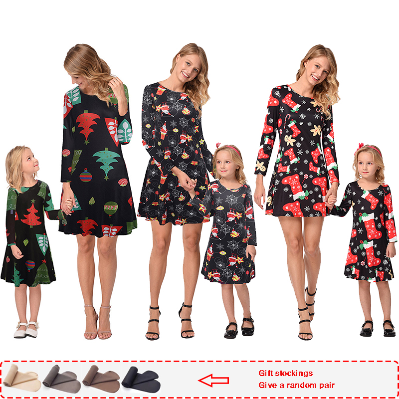 Family Matching Daughter-Dress Christmas-Pajamas Dresses Pjs Mom And Xmas Autumn Full