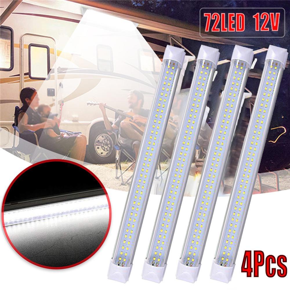 72 4pcs 12-85V 72 LED Car Interior White Strip Light Bar Lamp Van Caravan ON/OFF Switch For Truck Trailer Caravan Touring Car (1)