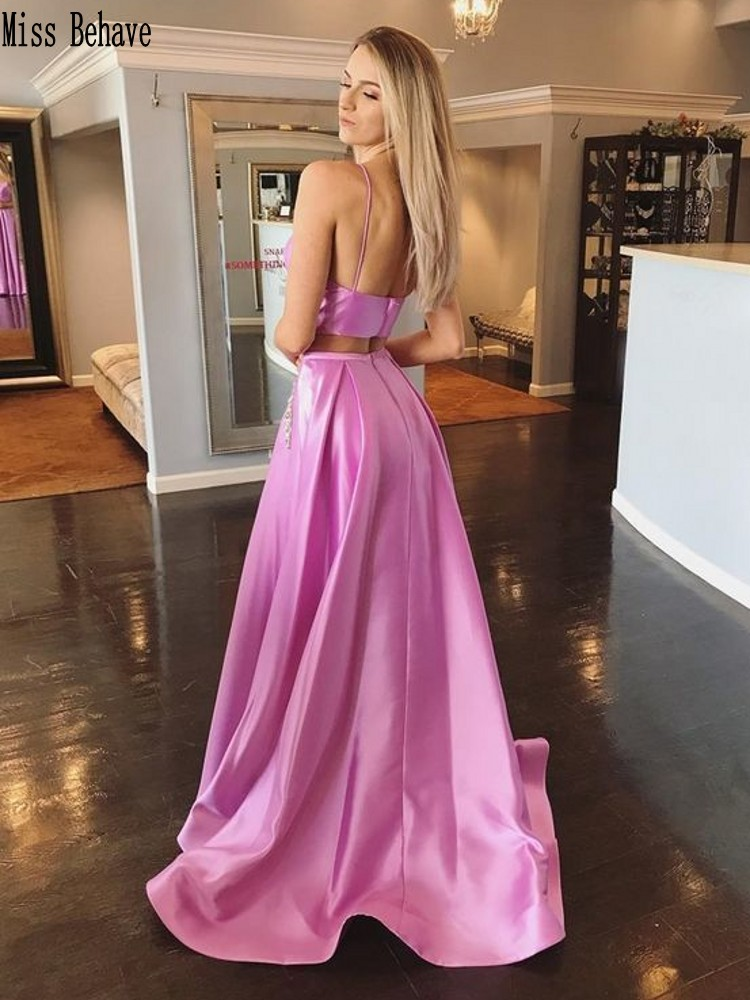 DD JYOY Two Pieces Long Evening Dress 2020 New Fashion Sexy Open Back Satin Prom Dress Long Formal Dress V Neck Simple Style