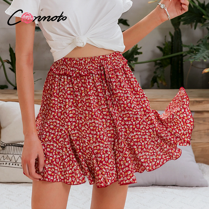 Conmoto Women Red Summer 2020 Chiffon Skirts Elastic Waist Casual Boho High Waist Skirts Ruffles Femme Red Floral Skirt