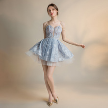New Sexy Lace Short Prom Dress 2019 Blue Prom Dress Backless Graduation Dresses Women Prom Gown Lace Elegant Evening Party Dress lace pleated backless prom dress