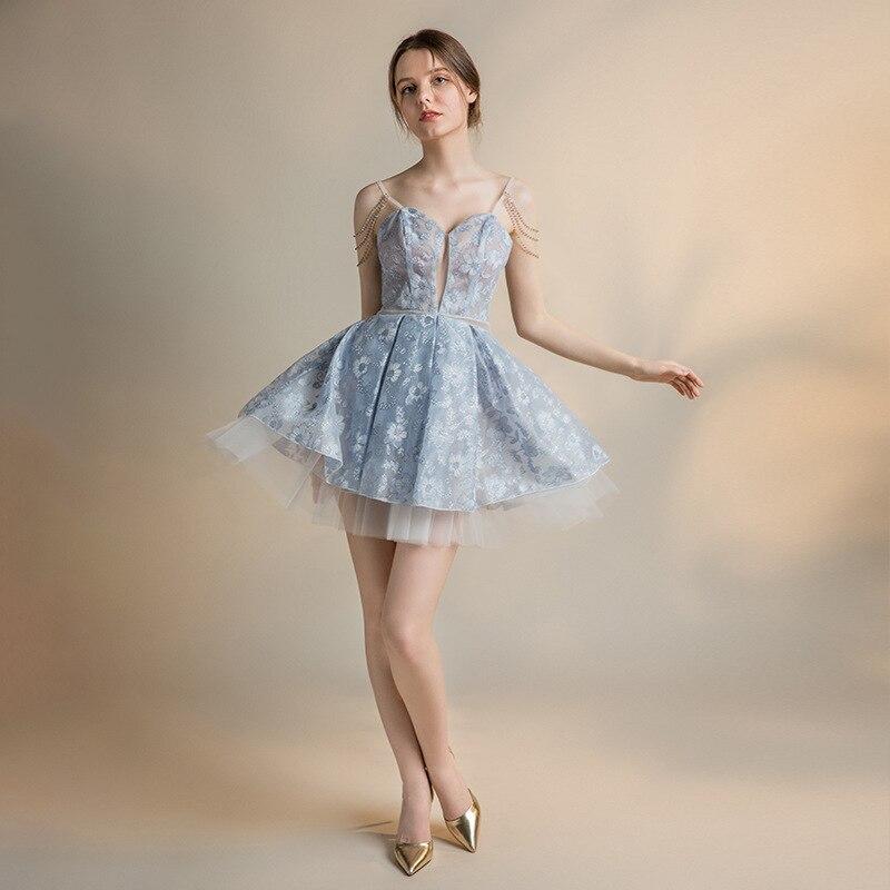 Nouveau Sexy dentelle courte robe de bal 2019 bleu robe de bal dos nu robes de Graduation femmes robe de bal dentelle élégante robe de soirée