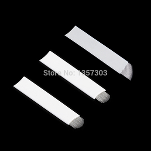 Image 3 - 50 قطعة الأبيض 0.20 مللي متر Microblading الإبر ل الوشم Lamina Tebori 7 9 11 12 14 فليكس شفرات U شكل تجميل دائم شفرة إبرة