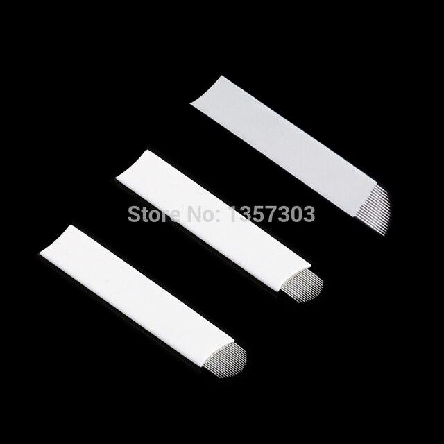 50pcs White 0.20mm Microblading Needles for Tattoo Lamina Tebori 7 9 11 12 14 Flex Blades U Shape Permanent Makeup Needle Blade 2