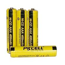 6 pces pkcell aaa nicd bateria 400mah 1.2v recarregável bateria nicd botão superior para luzes solares sem pcb protegido