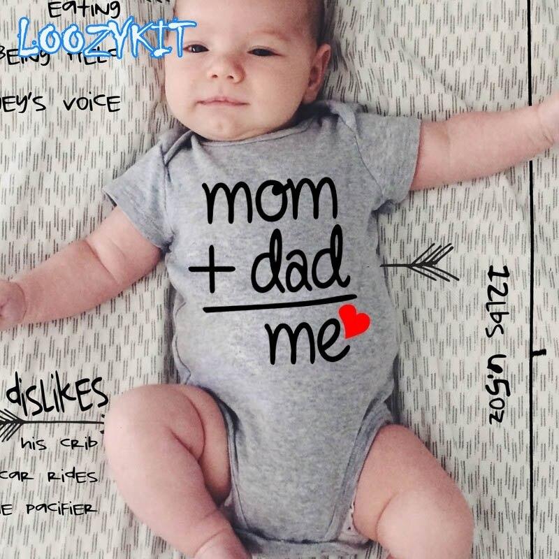 קיץ יילוד תינוקות תינוק בגדי אמא בתוספת אבא שווה לי מצחיק חמוד פעוט סרבלי Bodysuits תלבושות