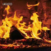 Laeacco Christmas Photophone Fireplace Burning Fire Wood Interior Photography Backgrounds Photo Backdrops For Photo Studio Props