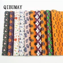 QIBUMAY Halloween Faux leather Sheet for Bows Ghost Pumpkin Printed Leather Fabric Festival Decor 22*30cm Synthetic