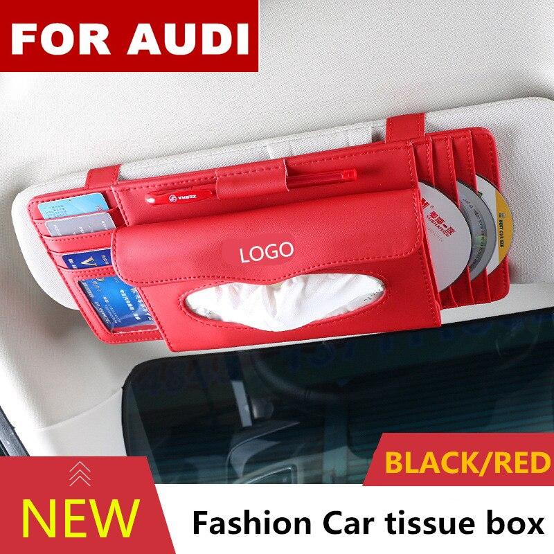 Fashion Car Styling Quality PU Multifunctional sunshade tissue box type pendant tissue box For Audi logo Sline Q3 Q7 TT A8 A6 c5 Tissue Boxes    - title=
